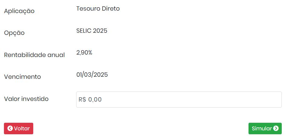 Simulador do Tesouro Direto SELIC