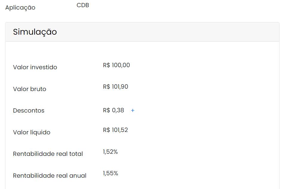 Simulando um CDB de 100% do CDI